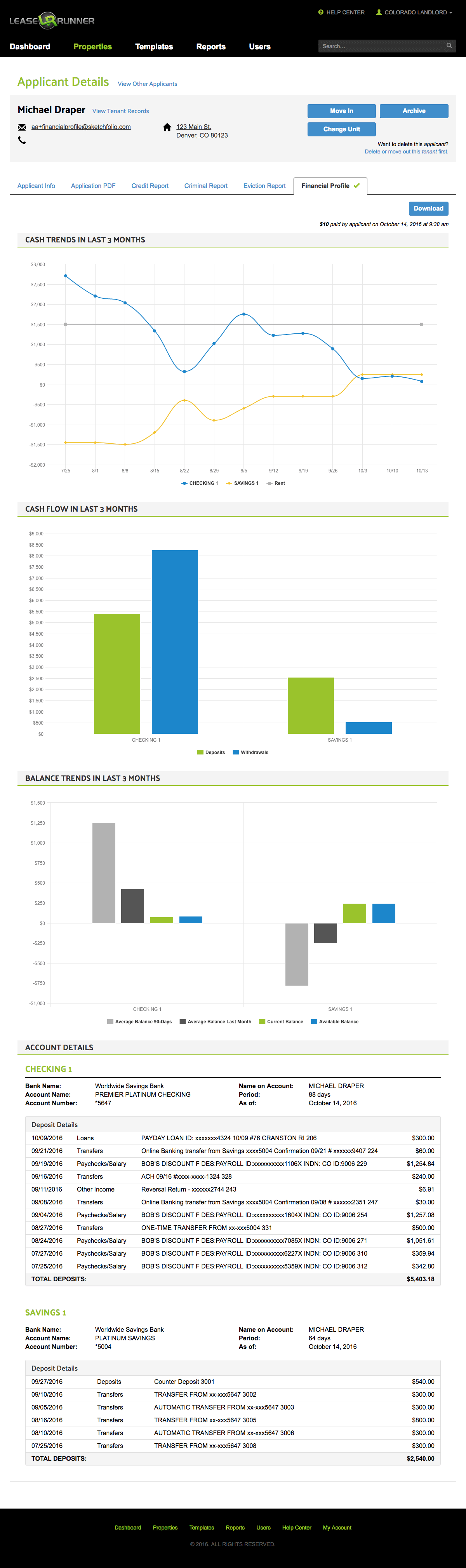 Tenant Financial Report Sample